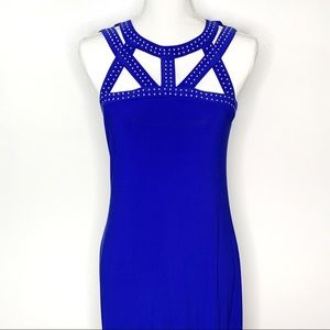 Spense Blue Sleeveless Maxi Dress Cutout Neckline